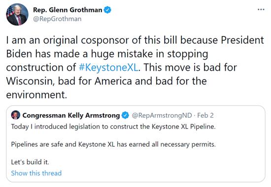 Keystone XL Bill Tweet