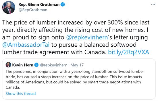Hern Lumber Letter Tweet